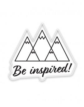 """Wlepa naklejka górska z napisem """"Be inspired"""""""